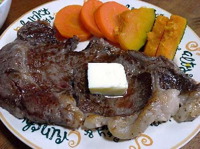 ステーキとニンジン/かぼちゃのグラッセ