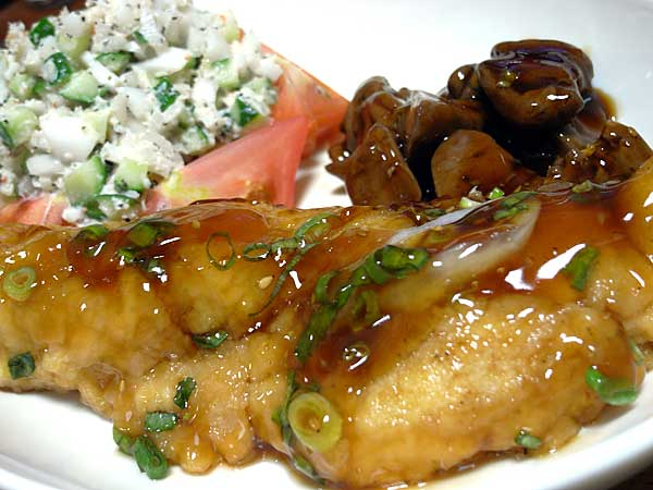 白身魚・鶏レバー・サラダ