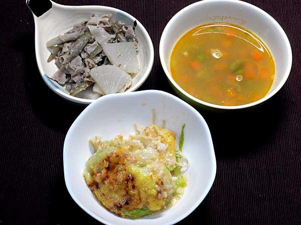 ドリアと豚大根ゴボウの味噌炊き